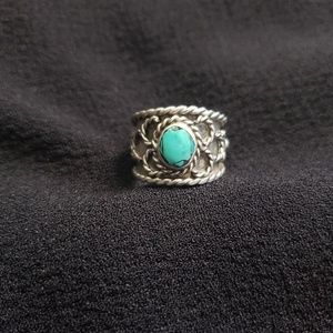 Vintage- Silver and Turquoise Handmade Ring